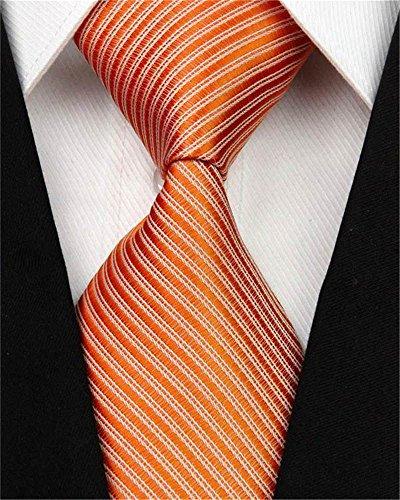 Neue Breite Seidenkrawatten Für Männer Striped Solide 10 cm Männer Krawatten Business Rot Hochzeit Anzug Krawatte Schwarz Weiß Blau Gravatas Slim-Fit Herren Krawatte (Orange) Business-krawatte