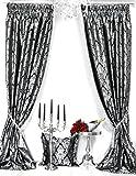 Trendoro 2er-Set Vorhänge Kollektion *PalazzoSWS*, mit Metallic-Fransenborte, je Vorhang 140 x 245 cm, Schwarz/Silbergrau, Jacquard-Qualität, Blickdicht, Ateliergefertigt
