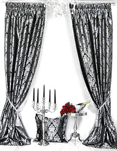 Trendoro 2er-Set Vorhänge Kollektion *PalazzoSWS*, mit Metallic-Fransenborte, je Vorhang 140 x 245...