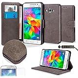 Savfy WalletCase - Funda para Samsung Galaxy Grand Prime SM-G530FZ (protector de pantalla, lápiz táctil), color gris