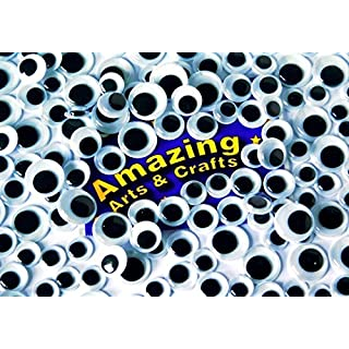 Amazing Arts and Crafts 200 Black self adhesive wiggle wiggly googly eyes assorted sizes