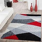 T&T Design Shaggy Teppich Hochflor Moderne Teppiche Geometrisch Gemustert in Versch. Farben, Farbe:Rot, Größe:70x140 cm