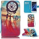 Ooboom® Samsung Galaxy S7 Edge Coque PU Cuir Flip Housse Étui Cover Case Wallet Stand avec Carte de Crédit Fentes Dragonne - Attrapeur de Rêves Rouge