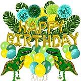 Party Dekoration Set Dinosaurier - happy birthday girlande, Monstera Pflanzenblätter , Latex Ballon, Seidenpapier Pompoms, Kindergeburtstag Dekoration (Mint blau, Hellgrün, dunkelgrün, gelb) (63 pack)
