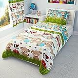 Parure de lit pour enfants - Housse de couette et taies d'oreiller pour garçons et filles - Berceaux, lits d'enfants, couffins - Motifs chiens et chiots, Coton, rose, 120x150 cm