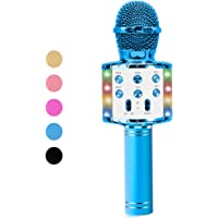 Vailge Karaoke Microphone for Kids Wireless Karaoke Microphone, Bluetooth Microphone with Dancing LED Lights, Kids Karaoke Machine Compatible with Android iOS Devices, Mic for Kids Party KTV (Blue)
