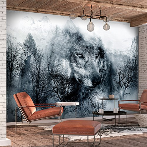 decomonkey | Fototapete Wolf Wald Berge 350x256 cm XL | Tapete | Wandbild | Bild | Fototapeten | Tapeten | Wandtapete | Wanddeko | Tiete Landschaft Baum blau weiß | FOA0067a73XL