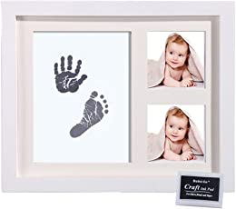 Desi Rang Baby Hand and Footprint kit with Frame, Infant Foot and Handprint, Hand Foot Impression Print DIY, No Touch, Safe Non Toxic Ink pad, Color : Black, Frame : White