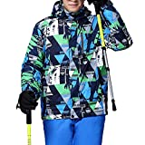 iPretty Skianzug Herren Skijacke Outdoorjacke Regenjacke mit kapuze Softshell Jacke wasserdicht atmungsaktiv Funktionsjacke-Blau-M