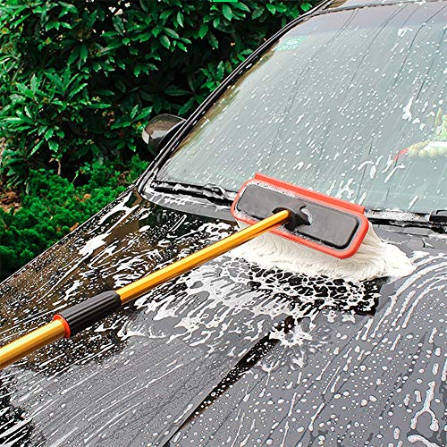 RUIX Autowaschbürste Autowaschmop/Langer Griff Einziehbar/Multifunktionsweichbürste / Autoreinigungswerkzeug