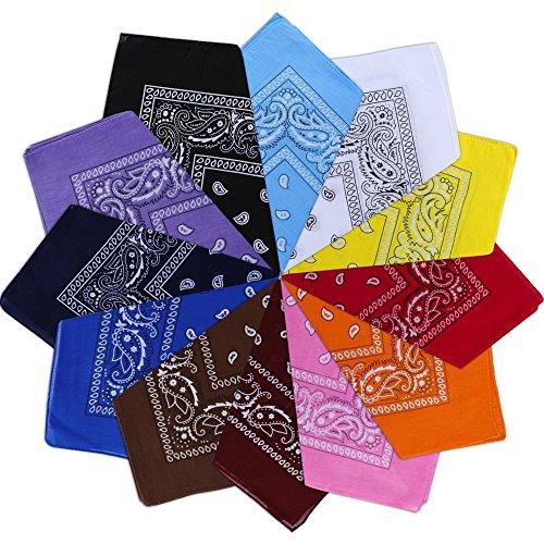 Nasharia Bandana Kopftuch 100% Baumwolle, 12 Pack mehrweg Paisley Bandanas Halstuch 55 x 55 cm Kopftuch Armtuch Mischfarben Haar, Hals, Kopf Schal Nickituch Vierecktuch -