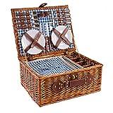 Cesta de picnic de mimbre 4 personas Vajilla Cesta de picnic Cesta de mimbre Juego de picnic de cesta de mimbre (azul)