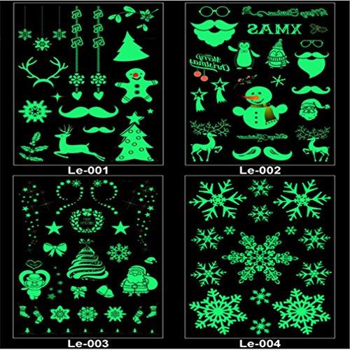 kemai Weihnachten Leuchtende Glühende Tätowierung Aufkleber Glow in The Dark Tattoo Aufkleber Fake Tattoo Aufkleber Perfekt für Geburtstagsfeier Weihnachtsdekoration, Stil 1