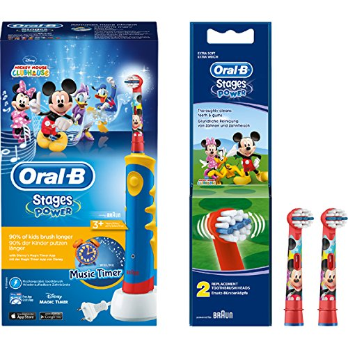 SPAR-SET: 1 Braun Oral-B Advance Power Kids 950 TX elektrische Kinder-Zahnbürste + 2er Stages Power Aufsteckbürsten Micky Maus
