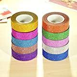 Shop Buzz Pack of 10 Colourful Decorative Adhesive Glitter Tape Rolls, Length 3m Each (Assorted Colours)