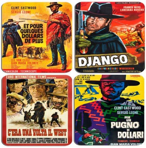 Spaghetti Western Film Vintages Plakat Poster Getränke Untersetzer Set von 4 Hochwertigem Kork