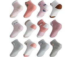 Lictin Baby Socks Non Skid Socks - 12 Pairs Girls Animal 3D Design Assorted Colored Socks, 1-3 Year Pink/White/Grey/Rose Red
