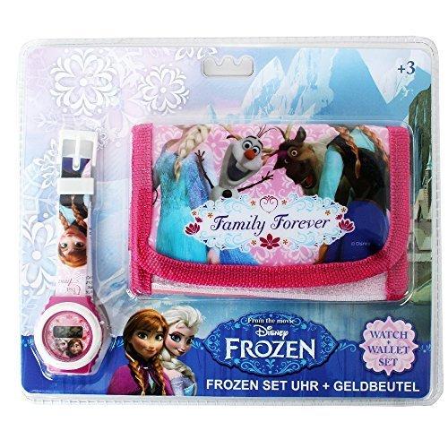 Disney Frozen Motiv Geschenk Set Kinder Geldbörse Geldbeutel und Digitale Armbanduhr