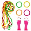 80s Accessoires, 10 Pack 80s Fancy Dress Néon Long Fishnet Gants Multicolore Bracelets Plastic Bead Set Pour 1980 Party Costume Accessoires