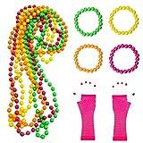 Aurorali 80s Sitten, 10Pack Multicolor Neon Armbänder Neon Plastic Bead Ketten Long Fishnet Handschuhe Set Party Kostüm Zubehör Set für 1980Party dcostume Zubehör