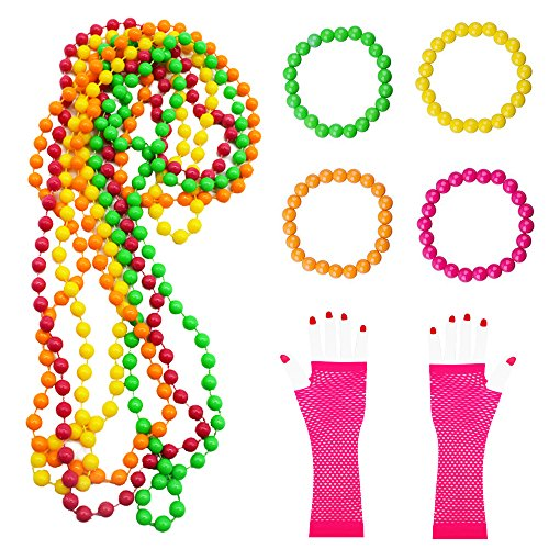 men , 10 Pack Plastic Neon Necklaces Neon Bracelets Long Fishnet Gloves Set for 1980 s Fancy Dress for Women 80s Party Accessories ()