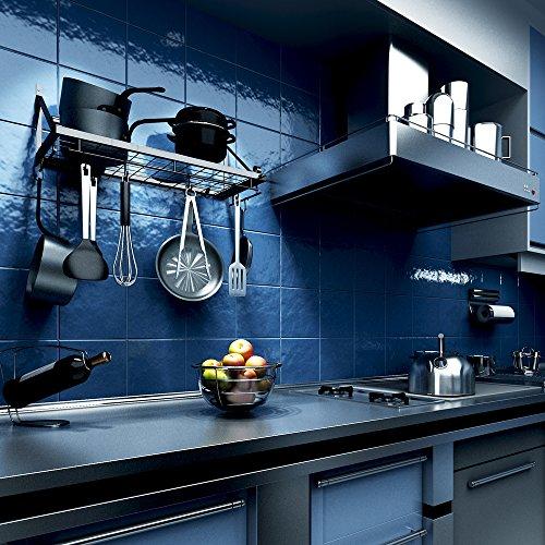 k chenregal k chenwand topf rack mit 10 haken schwarz. Black Bedroom Furniture Sets. Home Design Ideas