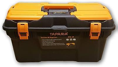 Taparia PTB Plastic Tool Box with Organizer (Black and Orange)