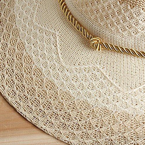 Mesdames Surker Femmes paille, large bord Sun Hat Cap Beach Sun Visor Beige