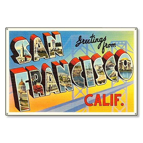 HSSS San Francisco California ca Retro-Postkarte, Reproduktion, Metallschild, 20,3 x 30,5 cm (Postkarten Ca)