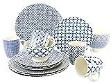 Creatable 19972, Serie Levante blau, Geschirrset Kombiservice 16 teilig Kombiservice, Stein, Mehrfarbig, 30 x 30 x 29 cm, 16 Einheiten