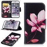 Honghushop PU Leder Hülle für iPhone 6S iPhone 6 Brieftasche Klapphülle Flip Case Magnolie Design Ledertasche Schutzh