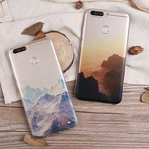Huawei Honor V9 (5,7 zoll) Schutz Hülle Case in wunderschönem Design Weiches transparentes TPU Landschaft Handyhülle Foggy Cloudy Mountain Berg mit Schnee und Sonne Wolken und Sonnenaufgang Handy Etui Pattern 02