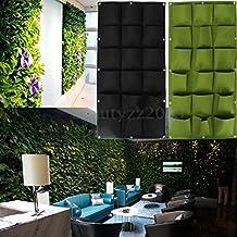 18 Bolsillos Bolsa Vertical Colgante Decoración Jardín de Hierbas Planta Pared Interior / Exterior Negro