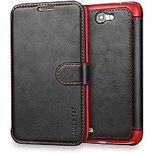 Funda Samsung Galaxy Note 2, Mulbess Samsung Galaxy Note 2 Wallet Case [Negro] - Funda Cuero con Ranuras Cierre Magnético para Samsung Galaxy Note 2