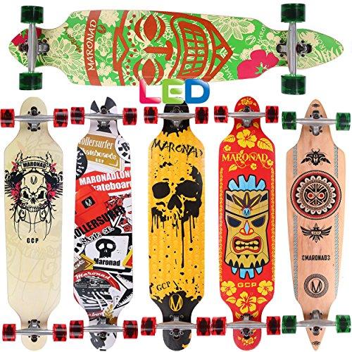 [Maronad.GCP]® Longboard Skateboard drop through Race Cruiser ABEC-11 Skateboard 104x24cm Streetsurfer skaten ARUBA LED Leuchtrollen