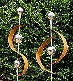 Modern Art 2er Set Gartenstecker Edelrost m. Edelstahl Kugel Metall Gartendeko Beetstecker 1+2
