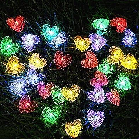 LED Solar Lights Outdoor Lights, Solar Powered String Lights,15.7ft 20 LED Heart-Shaped String Light,KEEDA Waterproof Outdoor String Lights, Solar Garden Lights, Xmas Tree Lights (Multi) by KEEDA