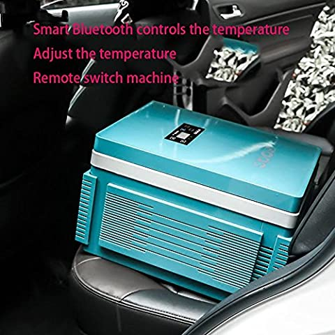 GZD 12L Bluetooth lithium battery Car with refrigerator Car refrigerator Refrigeration heating dorm room Mini Small Cold and warm box 46 * 34 * 27cm Power 60W , emerald green [built-in battery, 12l home dual-use]