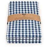 FILU Servietten (8 Stück, Blau/Weiß kariert) 45 x 45 cm (Farbe und Design wählbar) Stoffserviette aus 100% Baumwolle im skandinavischen Landhausstil