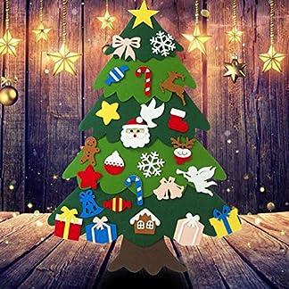Blue-Yan 25pcs DIY Fieltro Árbol de Navidad Puzzle Collage Decoración de la Pared, Árbol de Navidad Decoración para niños, Decoración de la Pared de la Puerta del hogar Desmontable