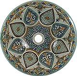 Leila - Marokkanische Waschbecken aus Keramik, Design Kunst Handbemalt Rustikal Vintage Waschbecken …