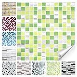 Wandora 1 Set Fliesenaufkleber 25,3 x 25,3 cm hellgrün grün Silber Design 27 I 3D Mosaik Fliesenfolie Küche Bad Aufkleber W1536