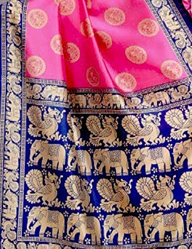 Winza Designer Jamawar art silk with blouse piece Saree (CHOTA HAATHI_ Pink_ Free)