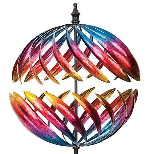 Bits and Pieces Jupiter-2-Wege-Windspiel, 55,9 cm Durchmesser, Mehrfarbiges Kinetisches Gartenwindspiel, Dekoratives Rasen-Ornament, Windmühle, Einzigartige Rasen- und Gartendekoration für draußen