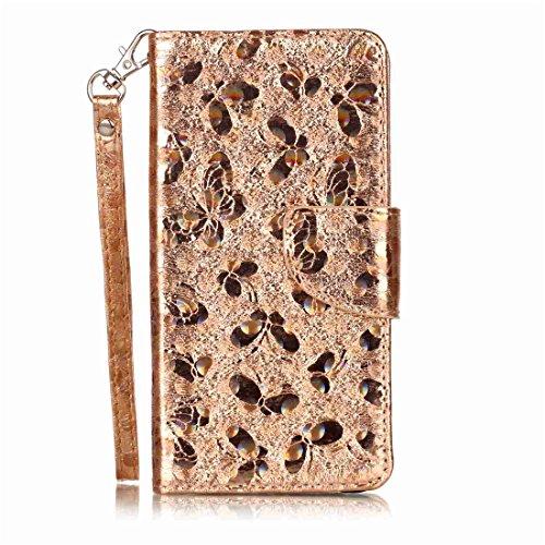 Preisvergleich Produktbild Nancen Wallet Case Hülle für Huawei P10 Lite ,Schmetterling Muster Flip Funktion Kartenfächer Magnet Etui Huawei P10 Lite
