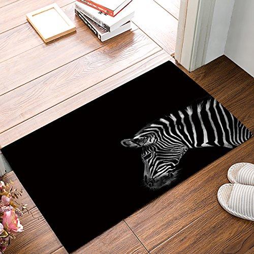 ALAGO Plains Zebra Fußmatten Eingang Vorne Tür Teppich Outdoor/Indoor-/Badezimmer/Küche/Schlafzimmer/Diele Fußmatten , Rutschfest Gummi, Low-Profile 23.6 x 15.7 Black &White