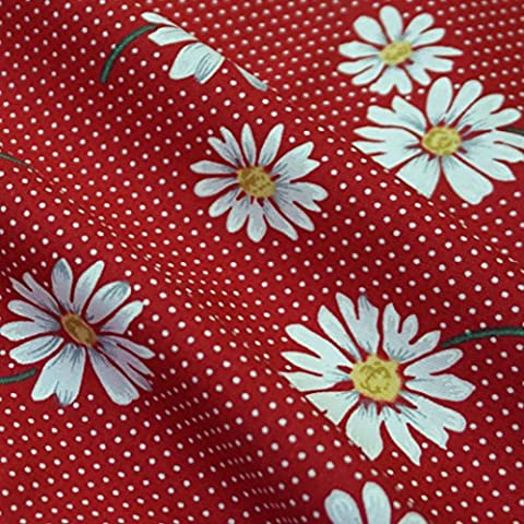 Red Polka Dot 100% Cotton White Daisy Design (Per