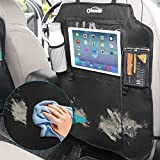 "Oasser 2PCS Kick Mats Car Organisers Waterproof Seat Back Protectors with 10"" iPad Holder Including Tissue Box"