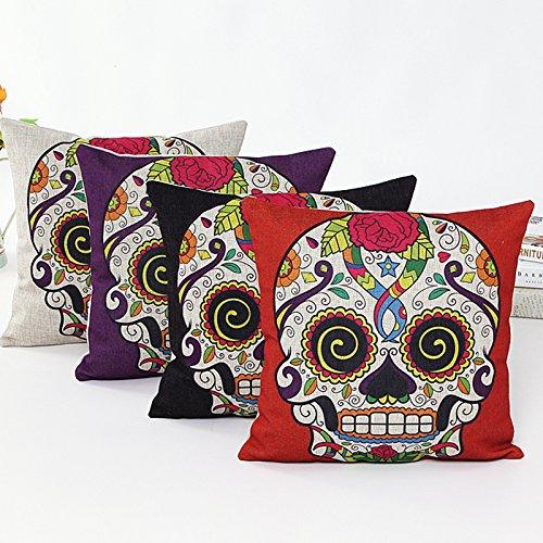 L&J ART 4Pcs 45,7cm Retro Colorful Mexikanischer Tag der Toten Sugar Skull Flower Leinen Kissen Kissen 4NS2 (Sugar Skull Art)