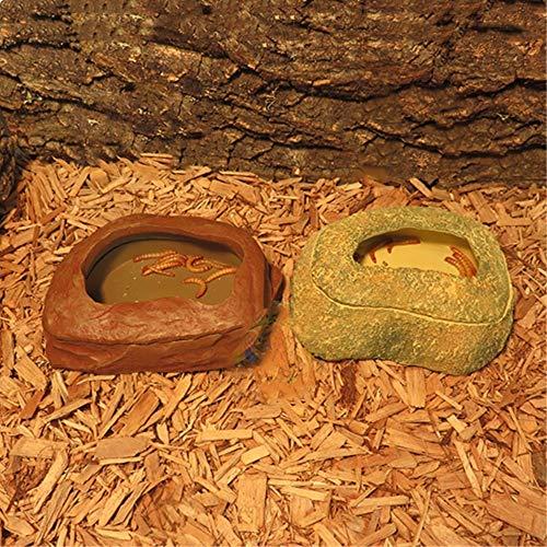 JRTAN&Pet Cuenco de Comida, Agua para Geckos, Tortugas, Serpientes Lagarto camaleón Reptil Insecto de Pan Anti-Escape de Comida, una sección